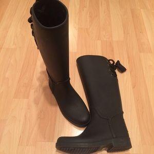 Coach Tristee Matte Black Waterproof Rain Boot